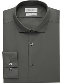 Mens Shirts - Calvin Klein Infinite Non-Iron Gray Slim Fit Stretch Dress Shirt - Men's Wearhouse