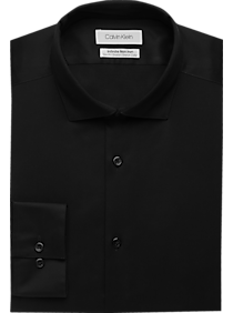 Mens Shirts - Calvin Klein Infinite Non-Iron Black Slim Fit Stretch Dress Shirt - Men's Wearhouse