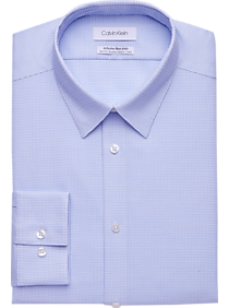 Mens Shirts - Calvin Klein Infinite Non-Iron Blue Micro-Dot Slim Fit Stretch Dress Shirt - Men's Wearhouse