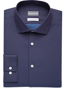 Mens Shirts - Michael Kors Blue & Red Woven Slim Fit Dress Shirt - Men's Wearhouse