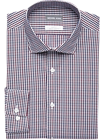 Mens Shirts - Michael Kors Wine & Navy Check Slim Fit Dress Shirt - Men's Wearhouse
