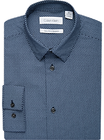 Mens Boys Shirts, Shirts - Calvin Klein Boys Blue Box Dot Slim Fit Dress Shirt - Men's Wearhouse
