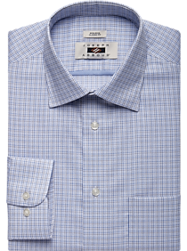 Joseph Abboud Navy & Brown Check Classic Fit Dress Shirt