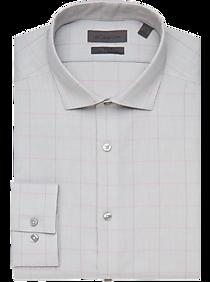 Calvin Klein Infinite Non-Iron Gray & Purple Plaid Slim Fit Dress Shirt