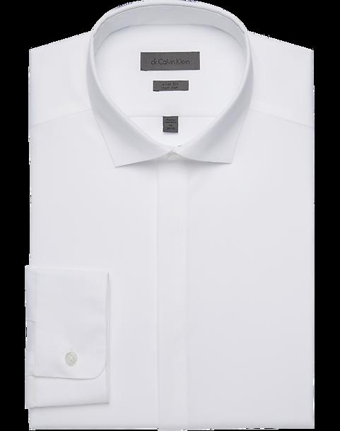Calvin Klein White Slim Fit French Cuff Tuxedo Shirt - Men's Shirts | Men's  Wearhouse