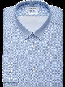Calvin Klein Blue Print Slim Fit Dress Shirt