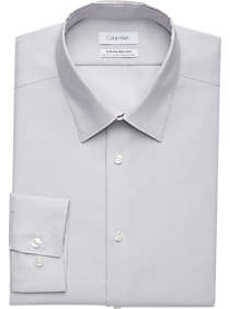 Calvin Klein Infinite Non-Iron Light Gray Stripe Slim Fit Dress Shirt