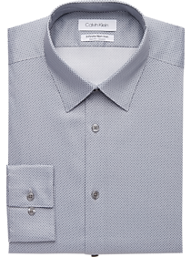 Mens Shirts - Calvin Klein Infinite Non-Iron Gunmetal Slim Fit Dress Shirt - Men's Wearhouse