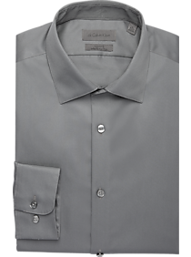 Mens Performance, Shirts - Calvin Klein Infinite Non Iron Modern Fit Gray Stretch Dress Shirt - Men's Wearhouse