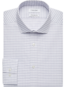 Mens Shirts - Calvin Klein Infinite Non-Iron Blue & Lavender Plaid Slim Fit Dress Shirt - Men's Wearhouse