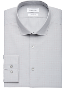 Mens Shirts - Calvin Klein Gray & Brick Dot Slim Fit Dress Shirt - Men's Wearhouse