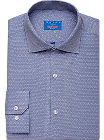 Mens Shirts Starting at $25 Each When You Buy 4 or More, Shirts - Perry Ellis Premium Blue Dobby Diamond Grid Tech Dress Shirt - Men's Wearhouse
