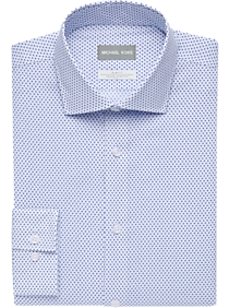 Mens Shirts - Michael Kors Blue Print Slim Fit Stretch Dress Shirt - Men's Wearhouse