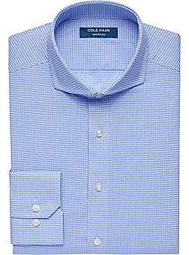 Cole Haan Grand.?S Blue Check Slim Fit Dress Shirt