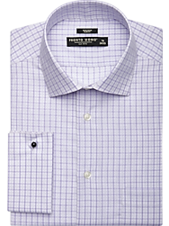 Pronto Uomo Purple Plaid Slim Fit French Cuff