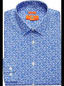 Mens Shirts Starting at 3 For $69, Shirts - Egara Orange Blue Floral Extreme Slim Fit Dress Shirt - Men's Wearhouse