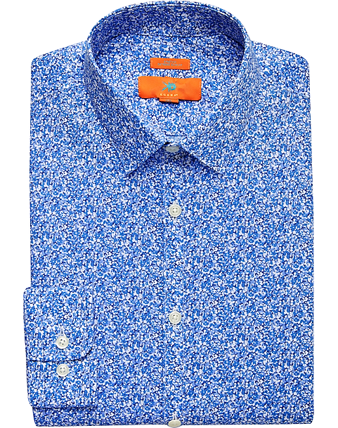 Egara Orange Blue Floral Extreme Slim Fit Dress Shirt