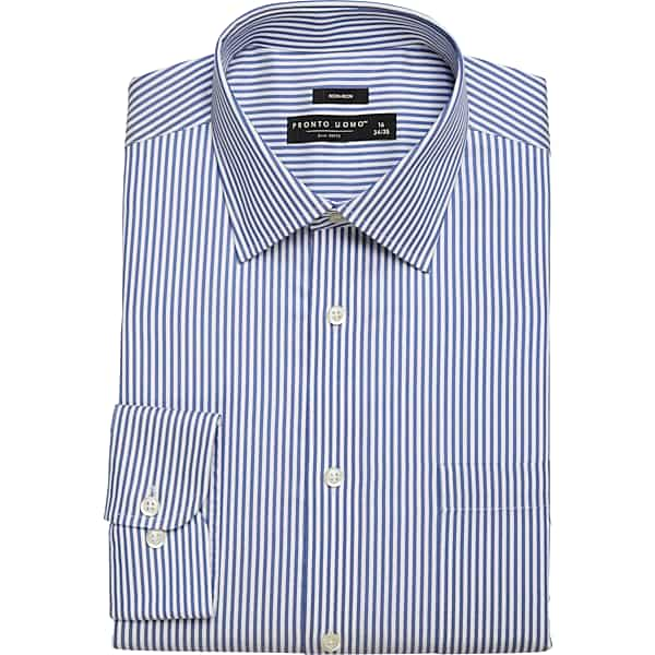 1920s Men's Shirts and Collars History Pronto Uomo Mens Modern Fit Dress Shirt Blue Stripe - Size 20 3839 - Only Available at Mens Wearhouse $44.99 AT vintagedancer.com
