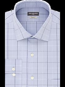 Mens Home - Van Heusen Flex Collar Blue Plaid Regular Fit Dress Shirt - Men's Wearhouse
