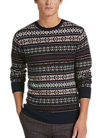 Mens Crew Neck, Sweaters - Paisley & Gray Sweater, Navy Fair Isle - Men's Wearhouse