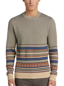 Mens Crew Neck, Sweaters - Paisley & Gray Sweater, Gray Multistripe - Men's Wearhouse