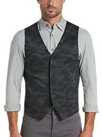 Mens Vests, Clearance - JOE Joseph Abboud Slim Fit Charcoal Camo Vest - Men's Wearhouse