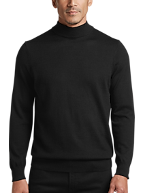 Mens - Joseph Abboud Black Mock Neck Performance Sweater - Men's Wearhouse