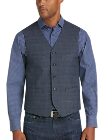 Mens Modern Fit, Vests - Joseph Abboud Navy Plaid Vest - Men's Wearhouse