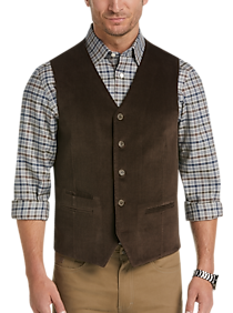 Mens Modern Fit, Vests - Joseph Abboud Brown Herringbone Corduroy Vest - Men's Wearhouse