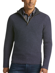 Joseph Abboud Limited Edition Blue 1/4 Zip Mock Neck Cashmere Sweater