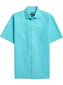 Mens Extra 30% Off Clearance, Shirts - Pronto Uomo Teal Check Short Sleeve Sport Shirt - Men's Wearhouse