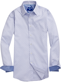 Mens Clearance, Big & Tall - Egara Blue Dobby Geometric Sport Shirt - Men's Wearhouse