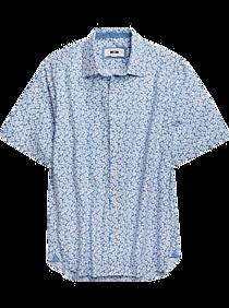 Joseph Abboud Blue & White Floral Pattern Sport Shirt