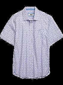 Joseph Abboud Purple Floral Short Sleeve Sport Shirt