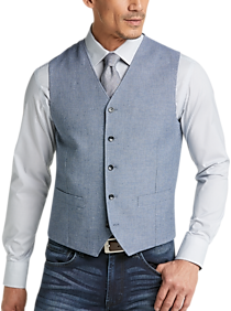 Mens Modern Fit, Vests - Joseph Abboud Gray Twill Vest - Men's Wearhouse