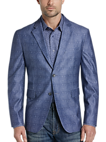 Egara Orange Slim Fit Casual Coat, Blue Plaid