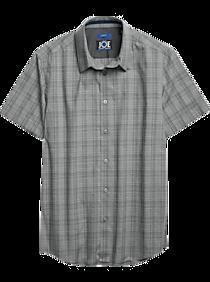 JOE Joseph Abboud Repreve® Charcoal Gray Plaid Short Sleeve Sport Shirt