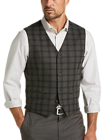 JOE Joseph Abboud Gray Plaid Slim Fit Vest