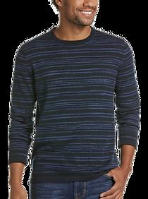 Mens Extra 30% Off Clearance, Sweaters - JOE Joseph Abboud Navy Space Dye Stripe Slim Fit Sweater - Men's Wearhouse
