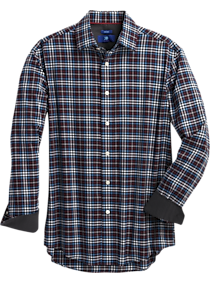 Mens Casual Shirts, Clearance - Egara Burgundy Multi-Check Modern Fit Sport Shirt - Men's Wearhouse