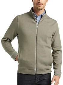 Cole Haan Grand.?S. Olive Modern Fit StripeTrack Jacket