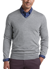 Mens Active & Performance, Sweaters - Joseph Abboud Gray 37.5® Technology V-Neck Sweater - Men's Wearhouse