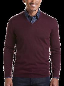 Mens Sweaters - Joseph Abboud Burgundy 37.5® Technology V-Neck Sweater - Men's Wearhouse