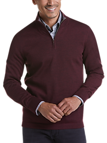 Mens Sweaters, Big & Tall - Joseph Abboud Burgundy 37.5® Technology 1/4 Zip Mock Neck Modern Fit Sweater - Men's Wearhouse