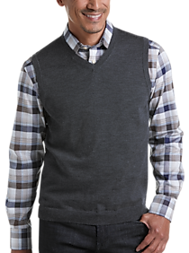 Joseph Abboud Charcoal 37.5® Technology V-Neck Sweater Vest