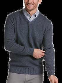 Mens - Joseph Abboud Blue Modern Fit V-Neck Sweater - Men's Wearhouse