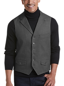 Mens Modern Fit, Vests - Joseph Abboud Charcoal Tic Modern Fit Vest - Men's Wearhouse