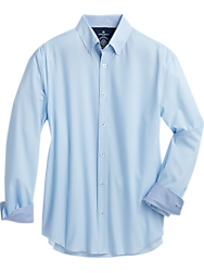 Construct Blue Gingham Slim Fit Sport Shirt