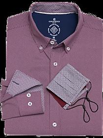 Construct Burgundy Dot Slim Fit Sport Shirt