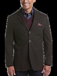 Joseph Abboud Brown Herringbone Modern Fit Casual Coat